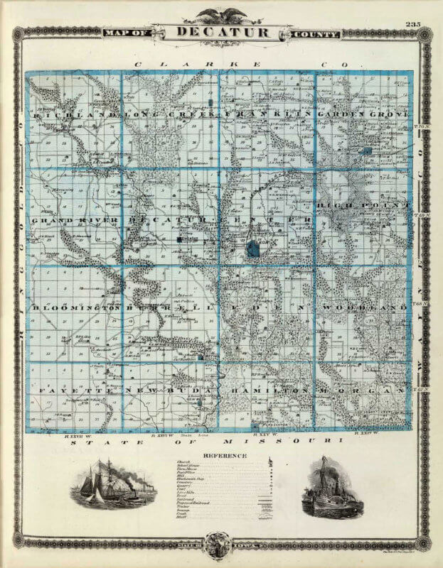 Old Map of Decatur County, Iowa